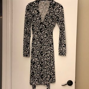 DVF Black and White Classic Wrap Dress